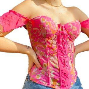 Vintage Y2K Barbie girl floral sexy corset top